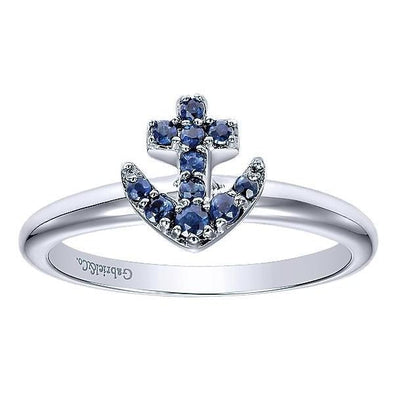 Gabriel NY Ladies 14K White Gold And Sapphire Stackable Ring LR50546W4JSA