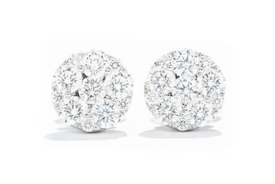 Adele Diamond 18K White Gold 1.26ctw Cluster Diamond Earrings