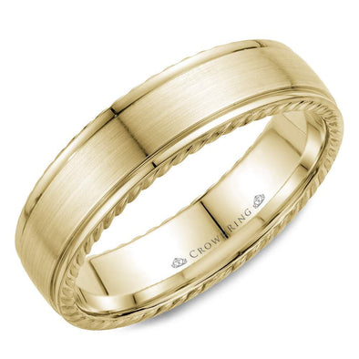 Gents 14K YG Wedding Band w/ Brushed Center & Rope Detailing WB-005R6Y (6mm)