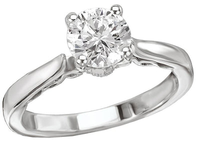 14K Vintage Trellis Detail Solitaire Engagement Ring