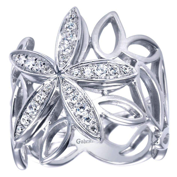 Gabriel NY 14k White Gold Ladies Floral Diamond Stackable Ring
