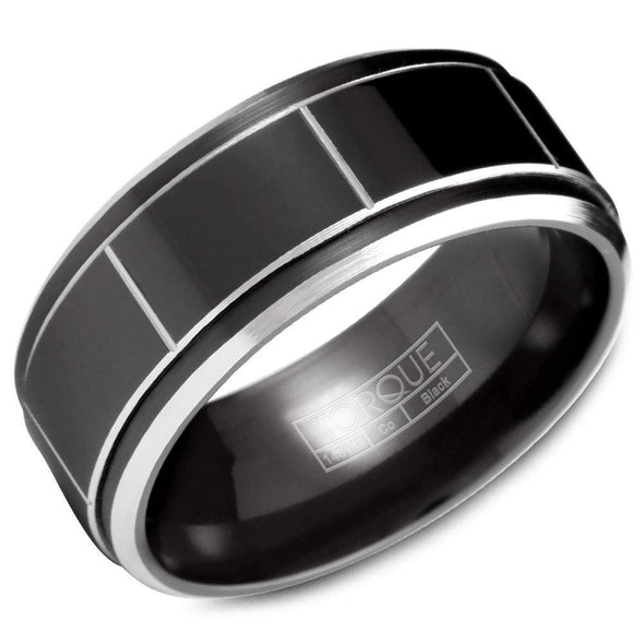 Gents Black & White Cobalt Wedding Band w/ White Cobalt Edges & Line Detailing CBB-2028 (9mm)