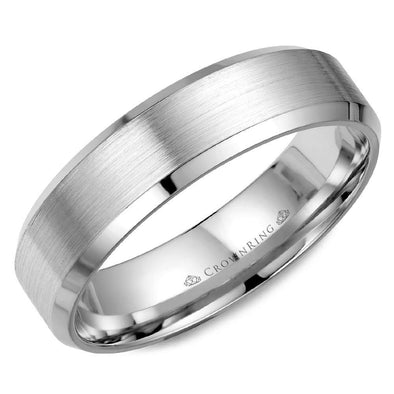Gents 14K WG Wedding Band w/ Brushed Center & Beveled Edges WB-7007 (6mm)