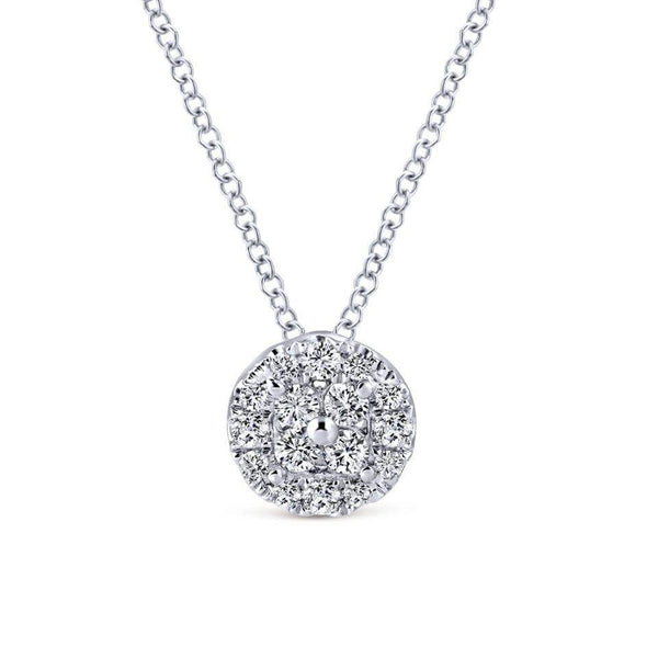 Gabriel NY 14k White Gold Ladies Diamond Quartet Halo Necklace