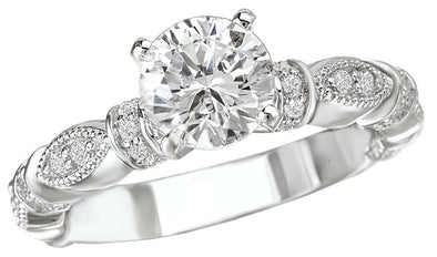 14K Vintage Milgrain Detail Diamond Engagement Ring