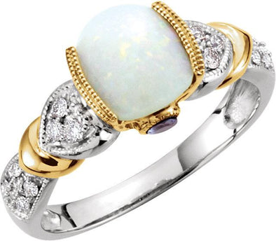 14K White and Yellow Gold  Cushion Cut Opal, Diamond and Tanzanite Engagement Ring