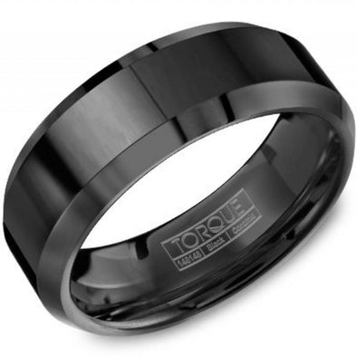 Torque Black Ceramic Ring with Beveled Edges 8mm