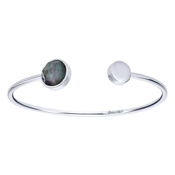 925 Silver Rock Crystal & Black Pearl Bangle