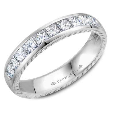 Gents 14K WG Wedding Band w/ 10 Princess Cut Diamonds & Rope Detailing WB-013RD45W (4.5mm)