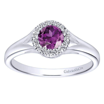Gabriel NY 14k White Gold Ladies Amethyst Diamond Halo Ring