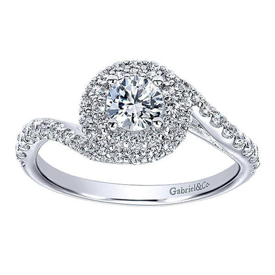 14K Contemporary Double Halo Free Form Diamond Engagement Ring