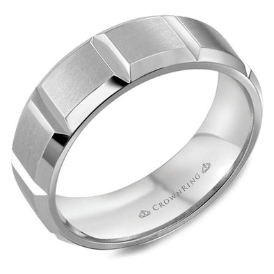 Gents 14K WG Wedding Band w/ Notch Detailing WB-8176 (7mm)
