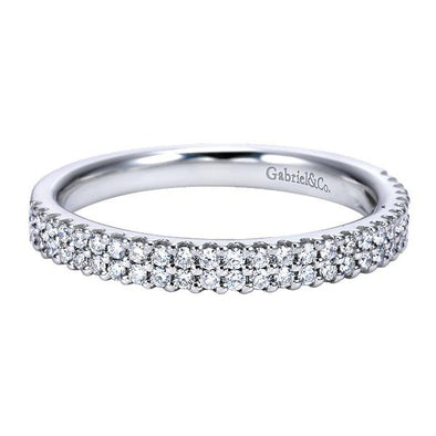 Ladies 14K White Gold Fancy Double Row Anniversary Band