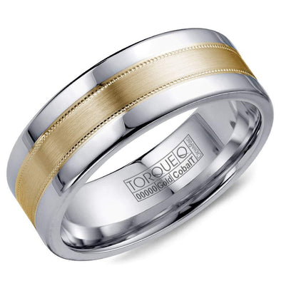 Gents Cobalt & Gold Wedding Band w/ Brushed Yellow Gold Center & Milgrain Detailing CW021MY75 (7.5mm)