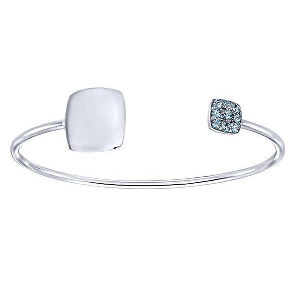 Gabriel NY Sterling Silver Aquamarine Engravable Bangle