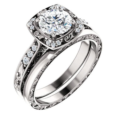 14K Vintage Filigree Halo Diamond Engagement Ring