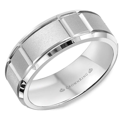 Gents 14K WG Sandblasted Wedding Band w/ Notch Detailing & Beveled Edges WB-9910 (7mm)