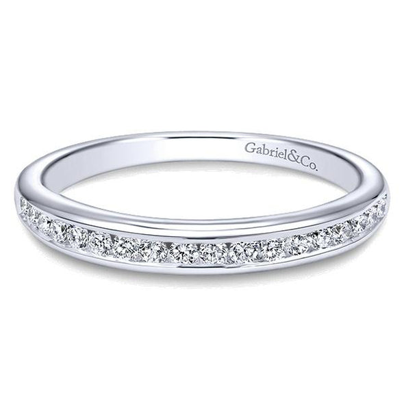 Ladies 14K White Gold Round Straight Channel Wedding Band