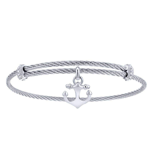 Gabriel NY 925 Silver/Stainless Steel Nautical Anchor Charm Bangle