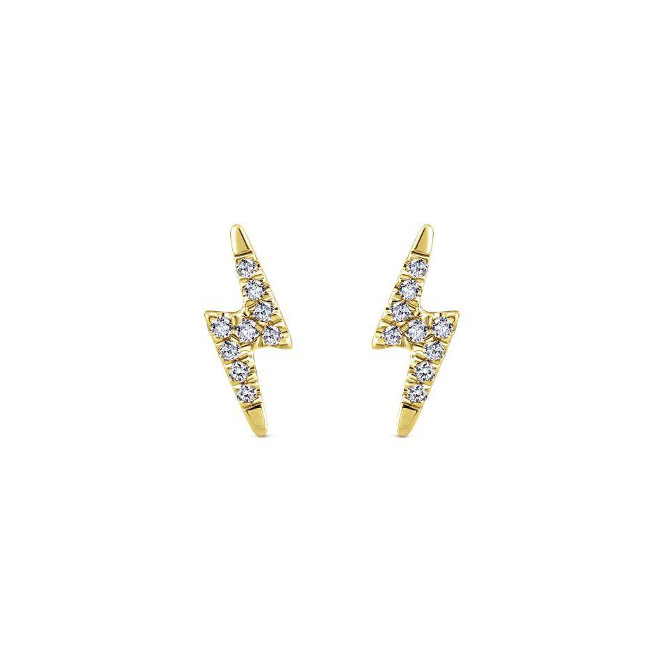 Gabriel Ny 14k White Gold Lightning Bolt Diamond Stud Earrings Adele Diamond