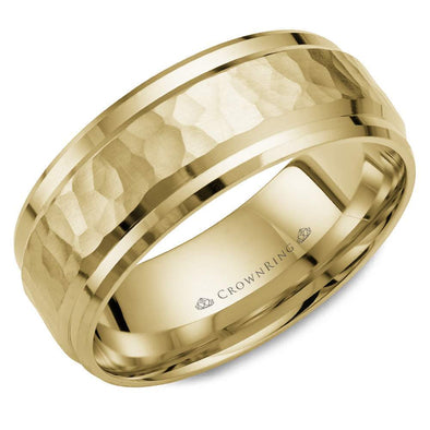 Gents 14K YG Wedding Band w/ Hammered Center & Beveled Edges WB-9550Y (8mm)