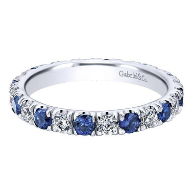 Ladies 14K White Gold Eternity Sapphire and Diamond Anniversary Band