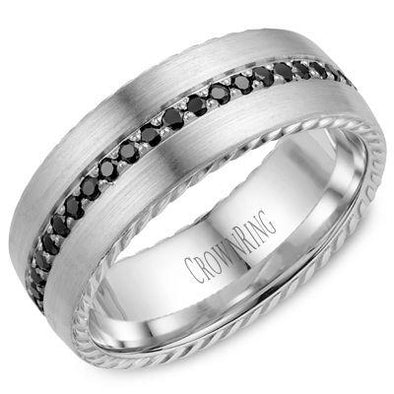 Gents 14K White Gold Contemporary Brushed Wedding Band w/ Rope Detailing & 45 Black Diamonds WB-002RD8W (8mm)
