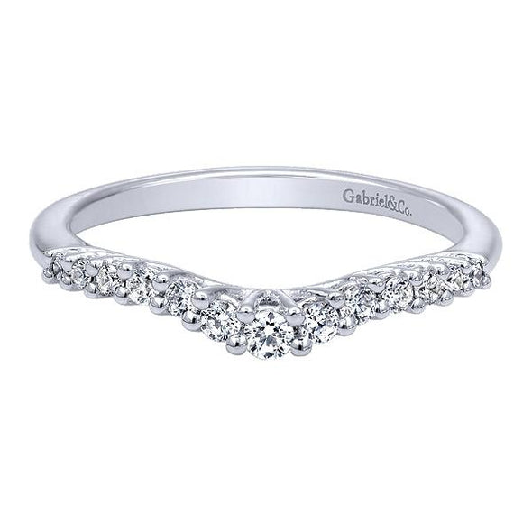 Ladies 14K White Gold Round Curved Anniversary Band