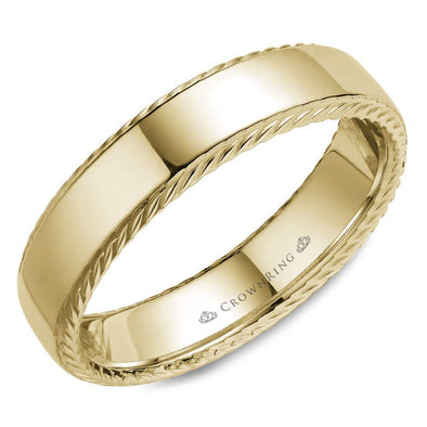 Gents 14K YG Wedding Band w/ Polished Finish & Rope Detailing WB-007R6Y (6mm)