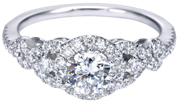 14K White Gold Contemporary Twist Shank Diamond Halo Engagement Ring