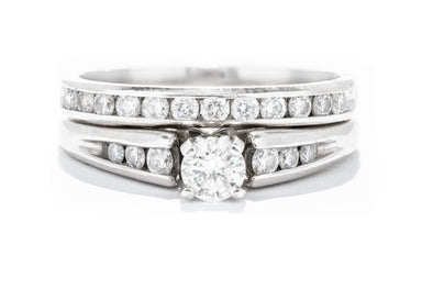 Adele Diamond 14K White Gold Vintage Channel Set Engagement Ring with Matching Band