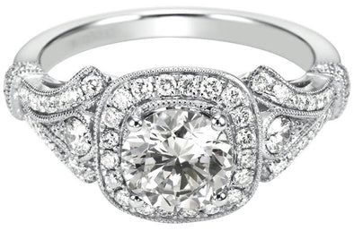 14K Vintage Milgrain Detail Diamond Halo Engagement Ring