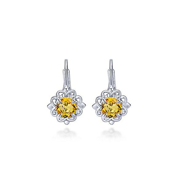 Gabriel NY 925 Silver Drop Citrine Earrings