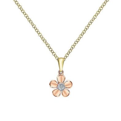14K Yellow/Pink Gold Diamond Floral Necklace