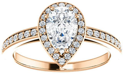 14K Contemporary Pear Halo Diamond Engagement  Ring