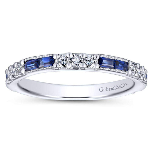 Gabriel NY 14k White Gold Ladies Blue Sapphire & Diamond Stackable Ring