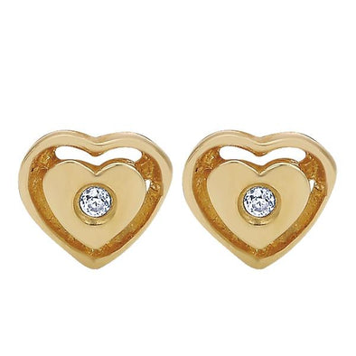 Gabriel NY 14K Yellow Gold Heart Diamond Studs
