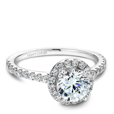 Noam Carver 14K White Gold Halo Engagement Ring B007-01A