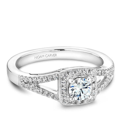 Noam Carver 14K White Gold Halo Engagement Ring B100-03A