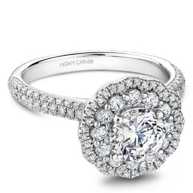 Noam Carver 14K White Gold Halo Engagement Ring B146-16A
