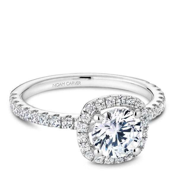 Noam Carver 14K White Gold Halo Engagement Ring B223-01A