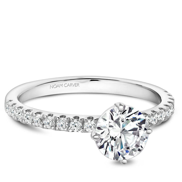 Noam Carver 14K White Gold Halo Engagement Ring B231-02A