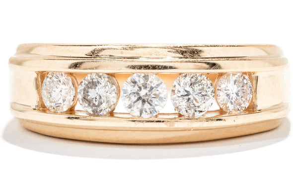 Gents Royal 14K Yellow Gold Diamond Channel Set Ring