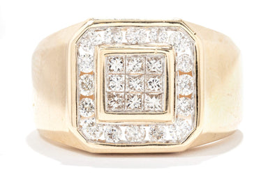 Royal Jewelry 14K Yellow Gold Cluster 1ctw Diamond Gents Fashion Ring