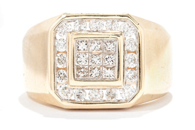 Gents Royal 14K Yellow Gold Cluster Diamond Ring