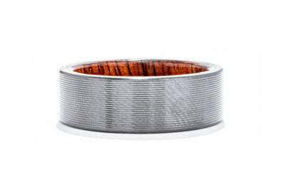 Lashbrook Zirconium Men's Wedding Band with Hardwood Sleeve