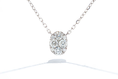 Adele Diamond 14K White Gold .52ct Diamond Pendant Necklace IGC068812