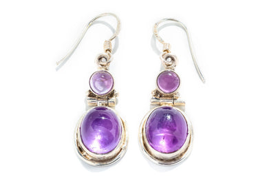 Adele Diamond Sterling Silver Amethyst Drop Earrings
