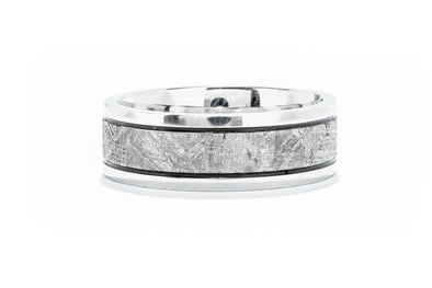 Lashbrook Cobalt Chrome Men's Wedding Band with Meteorite Inlay
