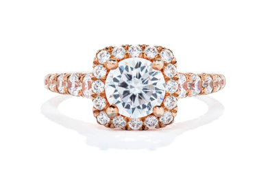 Adele Diamond 14K Rose Gold 1ct Diamond Halo Engagement Ring